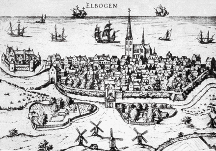 Malmo in 1580: Malmo Castle can be seen at far left, Sankt Petri Church's tower at center Malmo city 1580.png