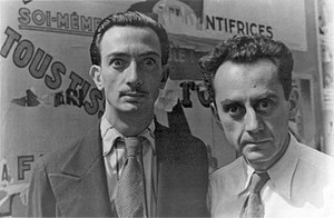 "Salvador Dalí and Man Ray in Paris, on June 16, 1934 making ""wild eyes"" for photographer Carl Van Vechten"