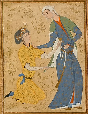 Man holding the hem of his beloved, an expression of a Sufi's agony of longing for the divine union. Man holding the hem of his beloved, Islamic art 16th century.jpg
