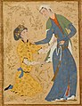 Man holding the hem of his beloved, Islamic art 16th century.jpg