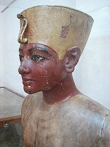Wooden bust of the boy king, found in his tomb