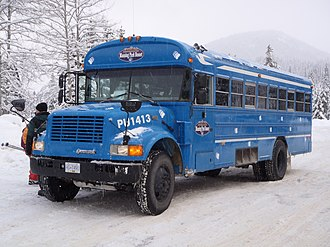 E. C. Manning Provincial Park - The free shuttle between the ski hill and the hotel, sporting the logo of Manning Park Resort.