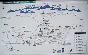 Goecha La - Trekking map at Yuksom with Goecha La Trek