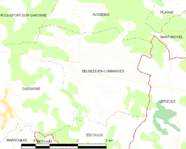 Mapa obce Belbèze-en-Comminges
