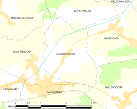 Mapa obce Gommersdorf