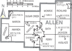 Map of Allen County Ohio With Municipal and Township Labels.PNG