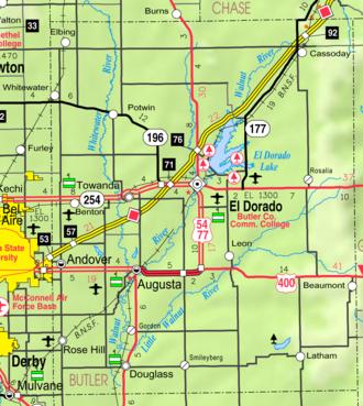 El Dorado, Kansas - Image: Map of Butler Co, Ks, USA