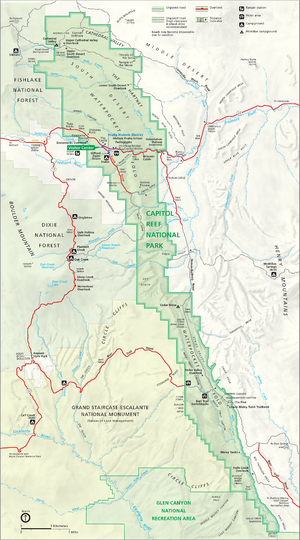 Map of Capitol Reef National Park