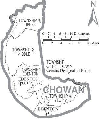Chowan County, North Carolina - Map of Chowan County, North Carolina With Municipal and Township Labels