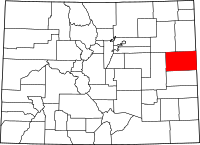 Map of Colorado highlighting Kit Carson County