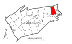 Map of Cumberland County, Pennsylvania highlighting Hampden Township