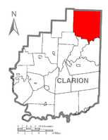 Map of Clarion County, Pennsylvania highlighting Farmington Township