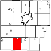 Location of Van Buren Township in Hancock County.