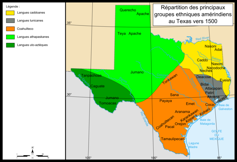 Distribution of the main Native-American groups in Texas in the early 1500s Map of Indians Texas 1500.png
