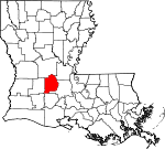State map highlighting Evangeline Parish