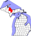 State map highlighting Marquette County