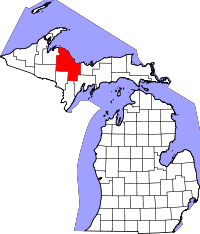 Map of Michigan highlighting Marquette County
