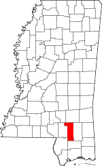 Map of Mississippi highlighting Forrest County.svg