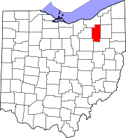Map of Ohio highlighting Summit County