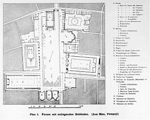 Macellum of Pompeii - An older plan of the forum by August Mau. The Macellum is the building in the upper right corner.