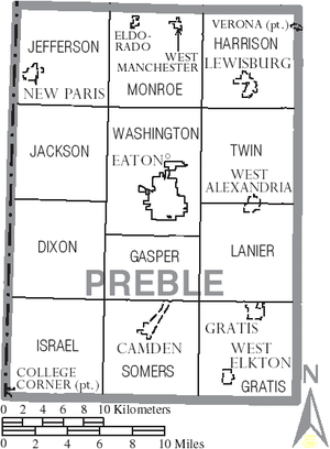 Preble County, Ohio - Map of Preble County, Ohio With Municipal and Township Labels
