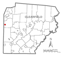 Map showing Troutville in Clearfield County