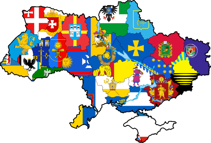 Map of Ukraine with regions flags.png