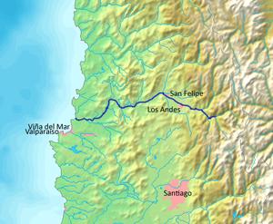 Aconcagua River - Image: Mapa Río Aconcagua