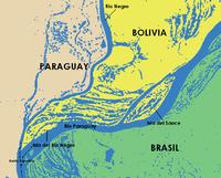 Vista de la triple zona fronteriza  sobre el río Paraguay