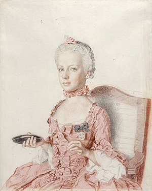 Marie Antoinette - Archduchess Maria Antonia (watercolor by Jean-Étienne Liotard, 1762)