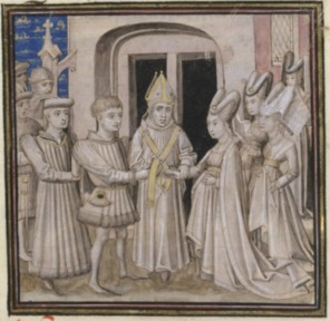 Joan of France, Duchess of Brittany - The marriage of John and Joan by Froissart.