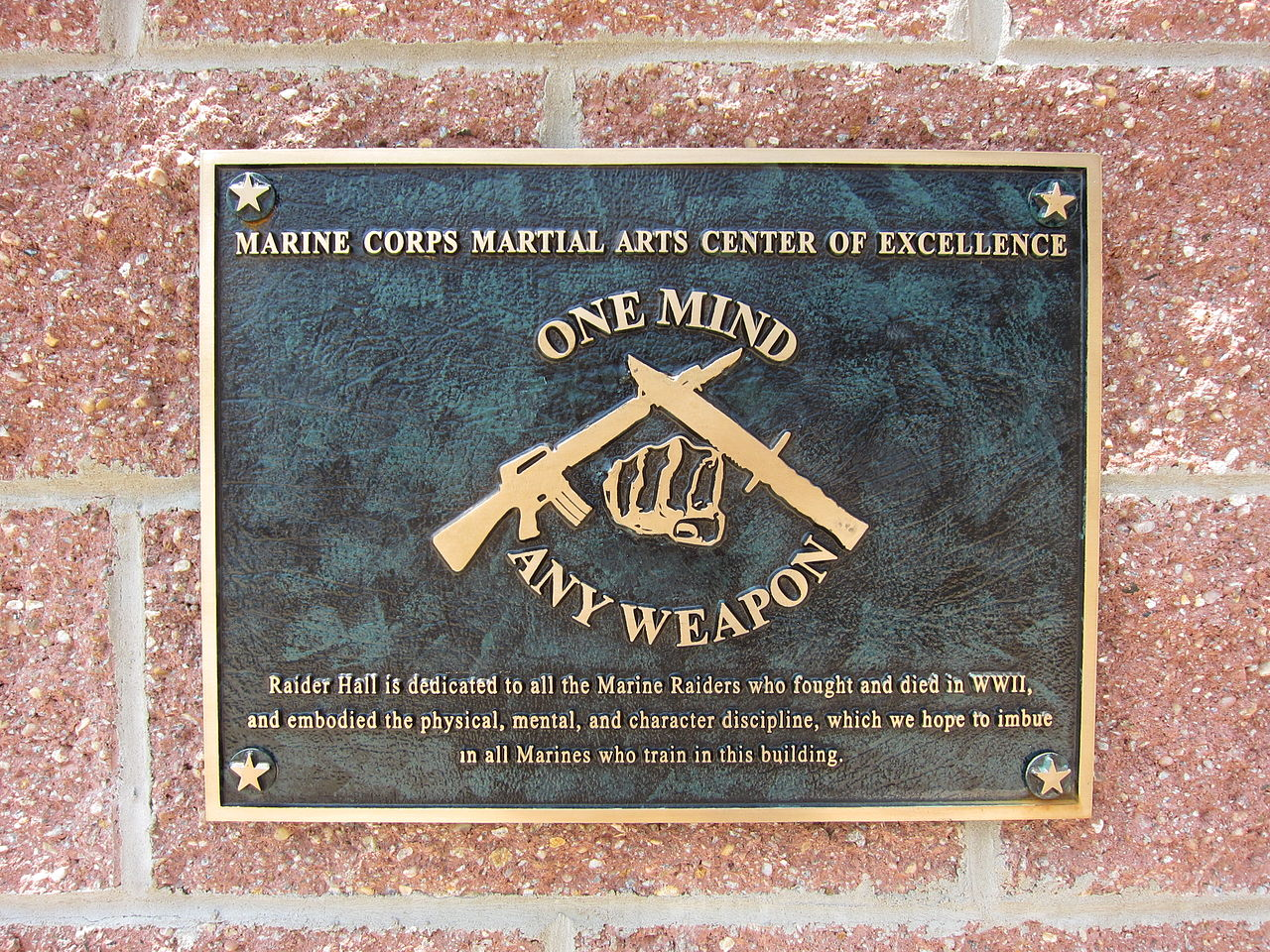 File:Marine Corps Martial Arts Center of Excellence plaque 01.jpg ...
