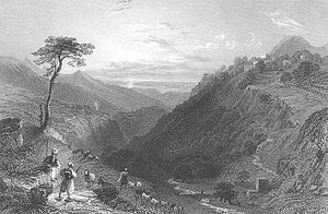 History of Kfarsghab - Engraving by WH Bartlett of Kfarsghab and Ehden in 1838