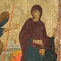 Mary with yarn - Annunciation Icon Serbia 14th c (cropped).jpg