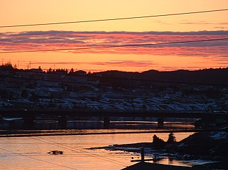 Marystown - Winter Sunset Over the Harbour featuring Canning Bridge