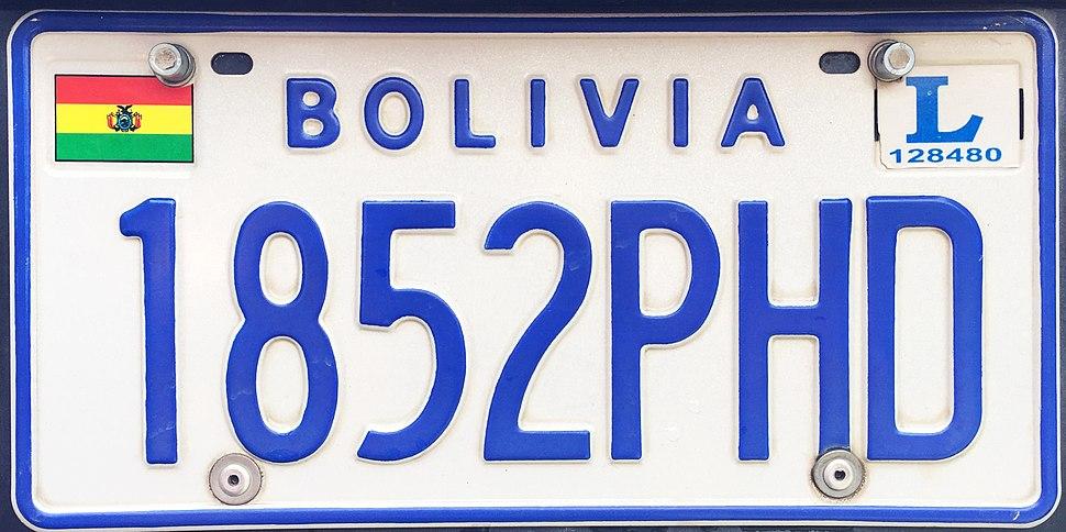 Matrícula automovilística Bolivia 2006 1852PHD La Paz