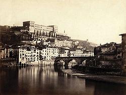L'Adige presso il colle San Pietro in una fotografia ottocentesca