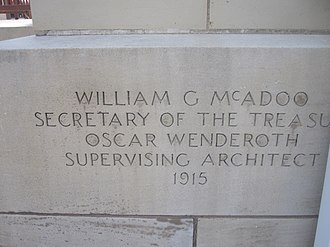 William Gibbs McAdoo - As treasury secretary, McAdoo's name is on the cornerstone of the U.S. Post Office (built 1919) in La Junta, Colorado.