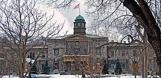 McGill University - The Arts Building, completed in 1843 and designed by John Ostell, is the oldest building on campus.