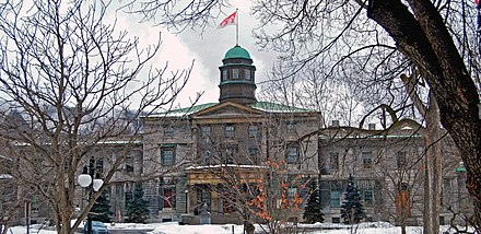 The Arts Building, completed in 1843 and designed by John Ostell, is the oldest building on campus McGill Arts Building2.jpg