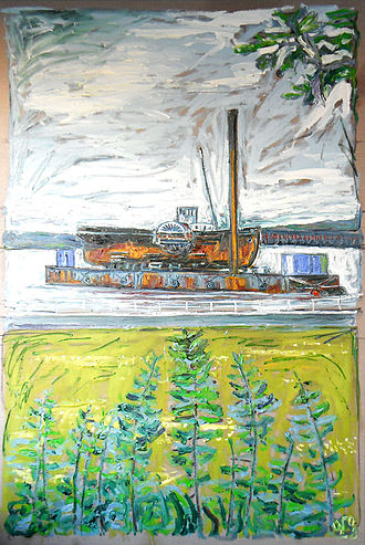 PS John H Amos - John H Amos by Billy Childish, a painting of the paddle tug off Rochester in 2008.