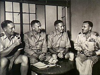 John Augustine Collins - Members of the Australian Mission Group at the Japanese surrender talks. Left to right: Commodore John Collins; Lieutenant General Frank Berryman; Captain Roy Dowling; Air Commodore Raymond Brownell.