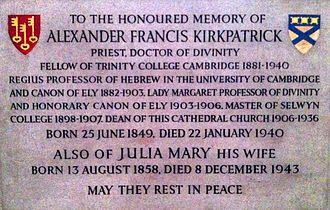 Alexander Kirkpatrick - Memorial to Alexander Francis Kirkpatrick in Ely Cathedral