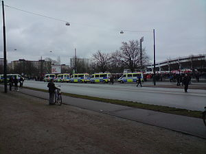 2009 Malmö anti-Israel riots - Police vans monitoring a section of the wider protests.