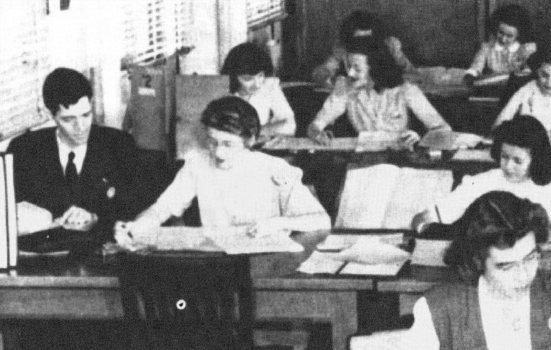 Meredith Gardner, at far left, working with cryptanalysts
