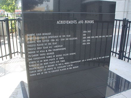 Plaque at the United Center that chronicles Jordan's career achievements Michael Jordan Achievements.jpg