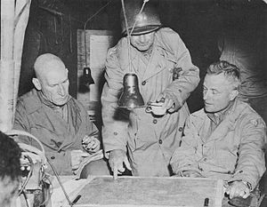 115th Infantry Regiment (United States) - General Middleton confers with General Simpson (left) and General Stroh (right) near Brest