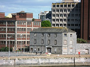 Millbay - An old warehouse at Millbay Docks in Plymouth survives surrounded by more modern buildings