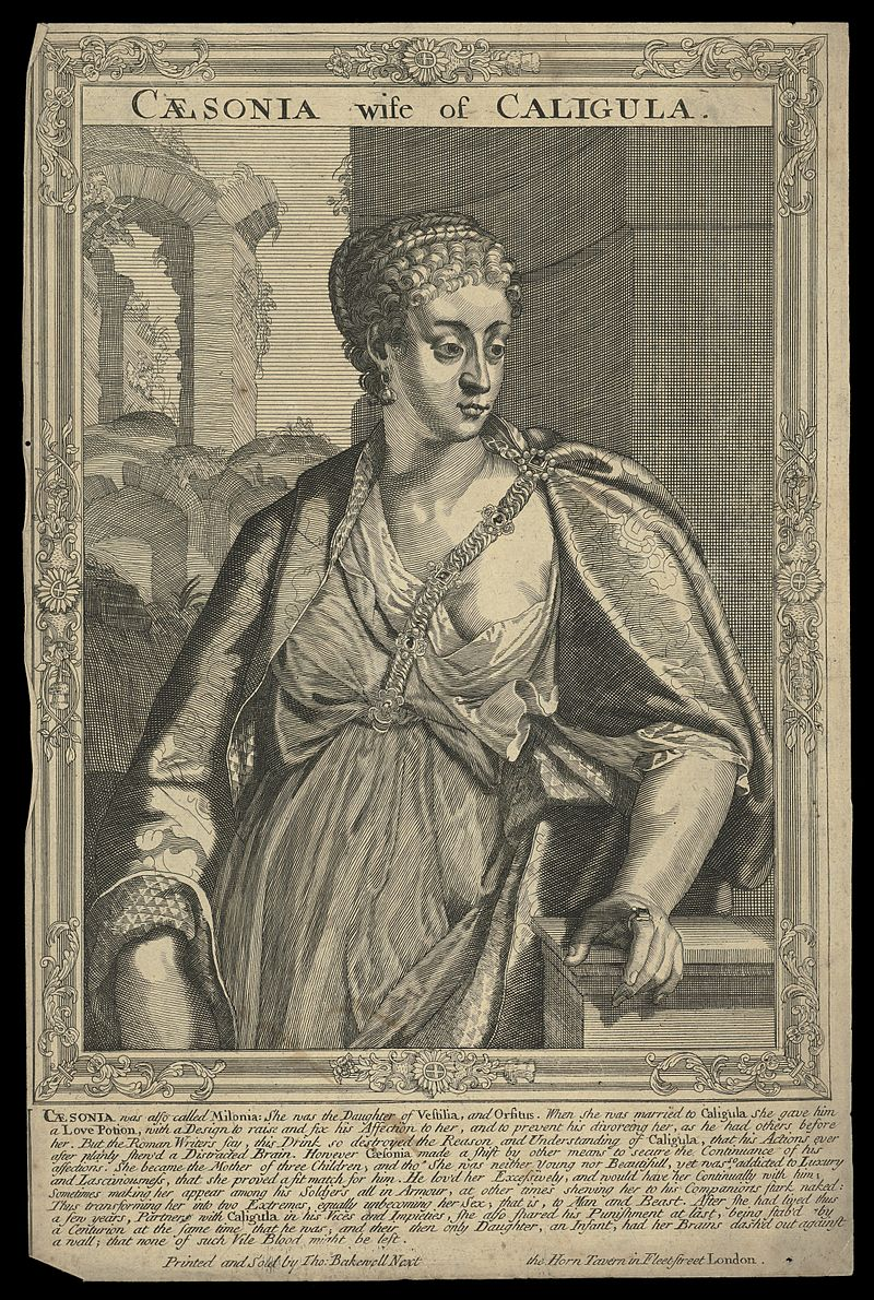 Milonia Caesonia, wife of Caligula, Emperor of Rome. Line Wellcome L0050549.jpg