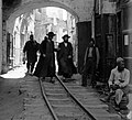 Minimum gauge railway train Yafo streets 1920 1.II.jpg